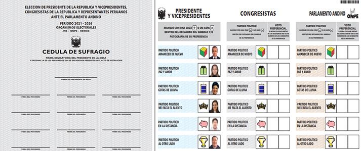 ONPE publica diseño definitivo de la cédula de sufragio para las elecciones generales